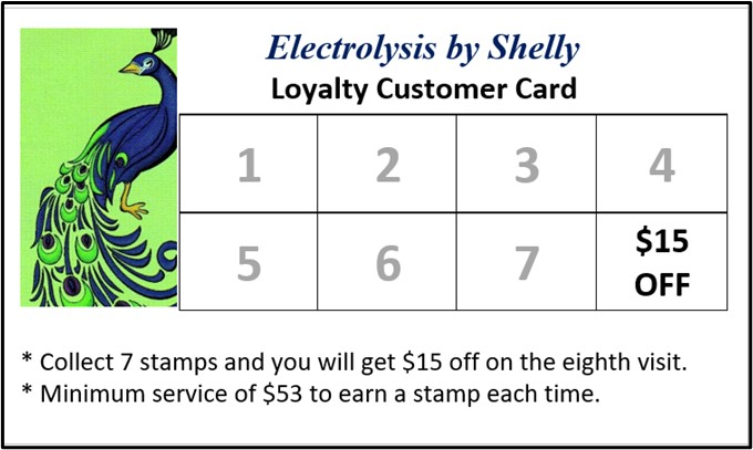 Earn a $15 Discount on Your Eighth Treatment; Electrolysis by Shelly Loyalty Customer Card